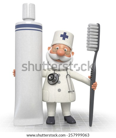 treatment of teeth necessary procedure of the dentist/3d doctor dentist with Toothbrush - stock photo