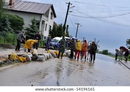 TREBELOVCE LAZA, SLOVAKIA - MAY 30: Flood in Trebelovce Laza on May 30, 2010 in Lucenec, Slovakia. - stock photo