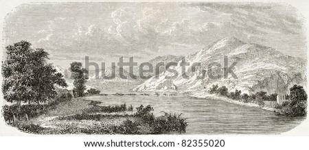 Trebisnjica river old view, Bosnia-Herzegovina. Created by De Bar after Lejean, published on Le Tour du Monde, Paris, 1860 - stock photo