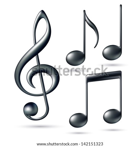 Treble clef with notes isolated on white background. - stock photo