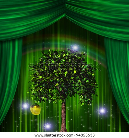 Tree and apple before curtains - stock photo