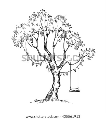 Tree and swing sketch.  - stock photo