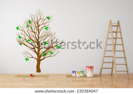 Tree as wall decall in room during a renovation (3D Rendering) - stock photo