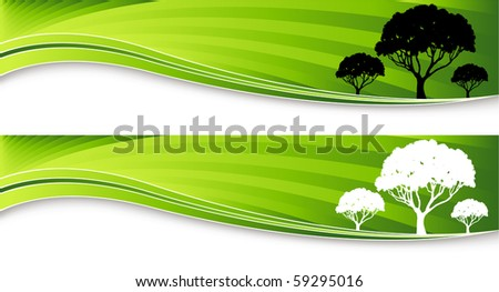tree banners - stock photo