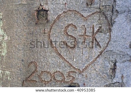 Tree bark in forest with lovers first letters  in heart. - stock photo