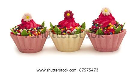 tree beautiful cupcakes - stock photo