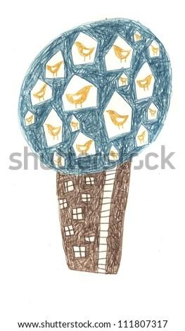 Tree birdcage - stock photo