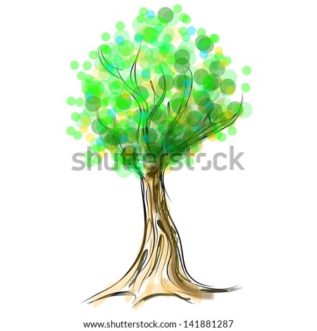 Tree cartoon icon isolated on white - stock photo