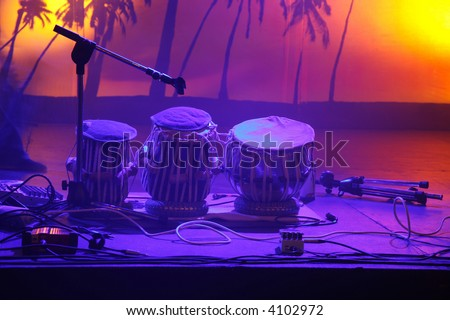 tree drums on empty stage - stock photo