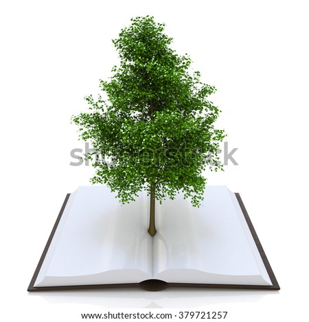 Tree growing from an open book, alternative recycling concept in the design of access to information relating to the nature and form of education - stock photo