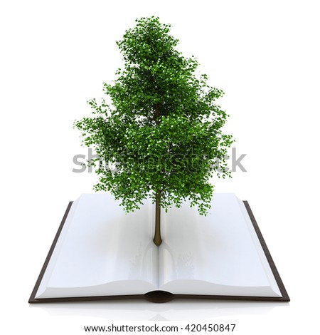Tree growing from an open book, alternative recycling concept in the design of access to information relating to the nature and form of education. 3d illustration - stock photo