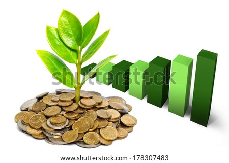 tree growing on coins / csr / sustainable development / tree growing on stack of coins - stock photo