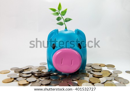 Tree growing on Piggy-bank and money tower concept saving money - stock photo