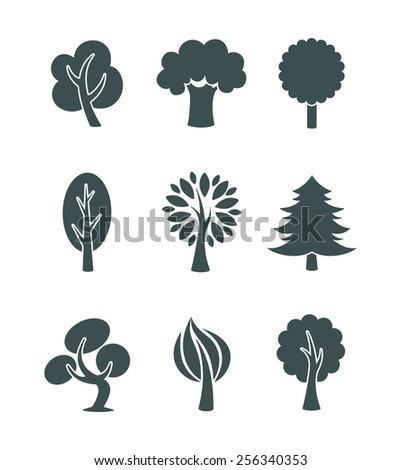 Tree icons set - stock photo