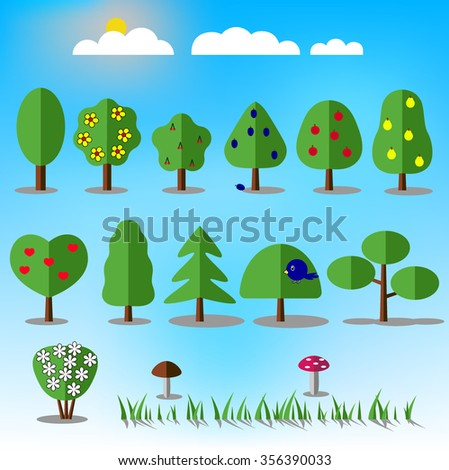 Tree icons set. Nature collection. Trendy and beautiful set of flat floral elements. Include grass, mushrooms, berries, bushes, trees and fruit trees. Sun and clouds. Stock illustration - stock photo