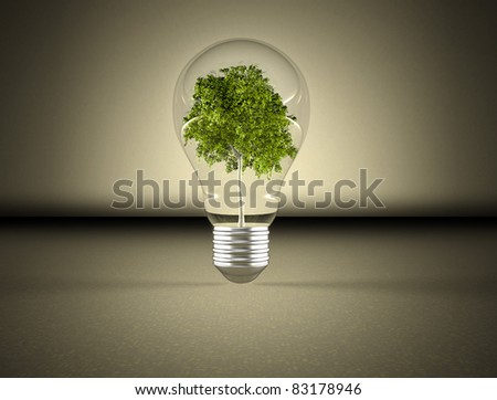 Tree in a light bulb image - stock photo