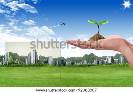 Tree in hand. ecology concept - stock photo