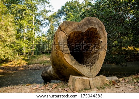 Tree in the form of heart - stock photo