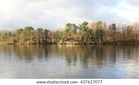 tree island in river at England - stock photo