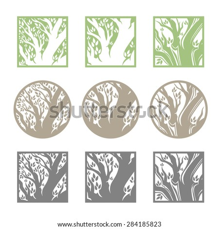 Tree logo template set. 