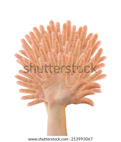 Tree made of hands isolated on white background - stock photo