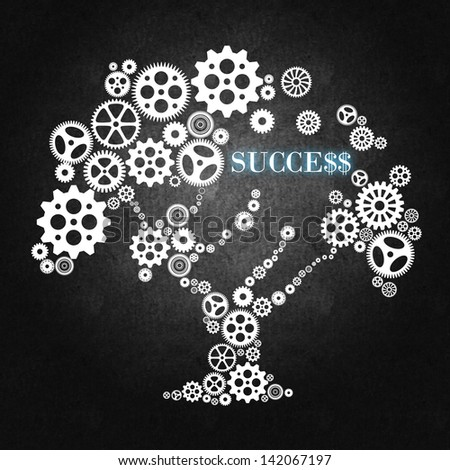 Tree made of wheels and gears, a concept for business, teamwork, management and leadership - stock photo