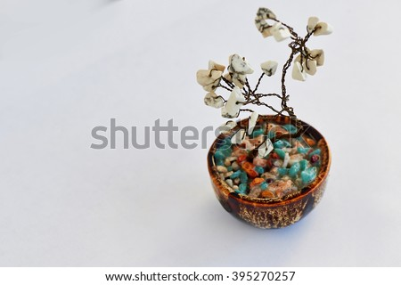tree of happiness Feng Shui from a wire with white stones - stock photo