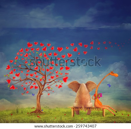 Tree  of hearts, valentines day background,illustration.The love between an elephant and giraffe in the garden - stock photo