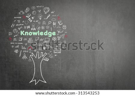 Tree of knowledge and education concept on black chalkboard background with freehand sketch doodle of class supplies or learning elements: Blackboard with chalk drawing of growing tree of knowledge   - stock photo