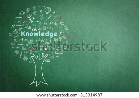 Tree of knowledge and education concept on green chalkboard background with freehand sketch doodle of class supplies or learning elements: Blackboard with chalk drawing of growing tree of knowledge    - stock photo