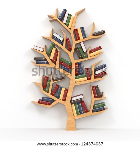 Tree of knowledge. Bookshelf on white background. 3d - stock photo