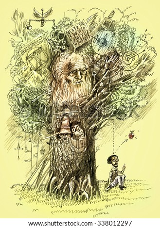 Tree of Knowledge.The scientist makes discovery. Metaphor of scientific thought. Pencil drawing. Raster format - stock photo