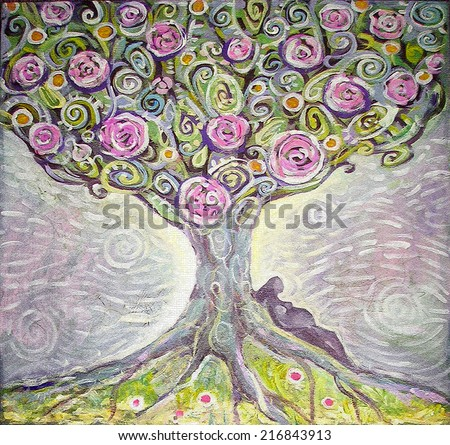Tree of Life acrylic painting. Spring painting. Illustration of an expectant mother. Canvas. Interior decor. - stock photo