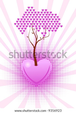 Tree of love with pink hearts. Vector illustration in my portfolio - stock photo