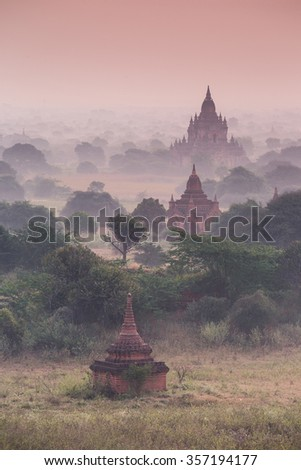 Tree old pagodas ancient temple in Bagan after sunset , Myanmar (Burma) - stock photo