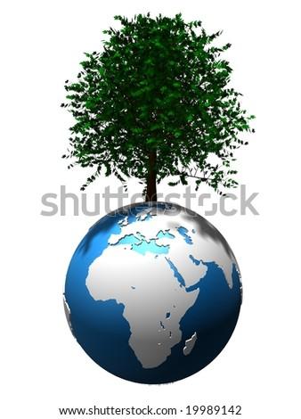 tree on globe - stock photo