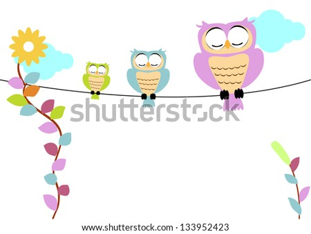 tree owl with soft color - stock photo