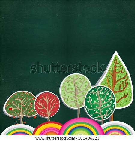 Tree paper on blackboard - stock photo