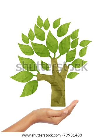 Tree recycle paper craft stick on hand white background - stock photo