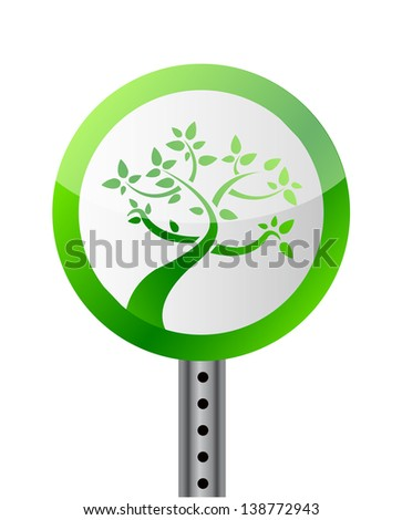 tree road sign illustration design over a white background - stock photo