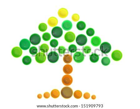 Tree shape made of plastic bottle cap - stock photo