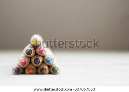 Tree shaped colour pencils - stock photo