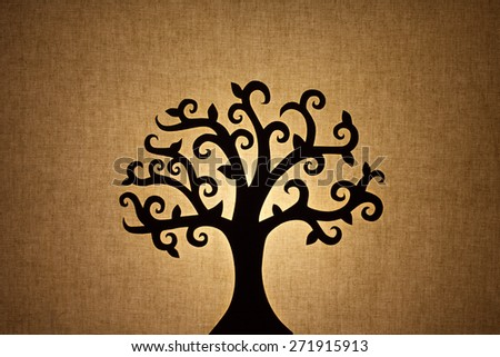 tree silhouette on linen  background texture - stock photo