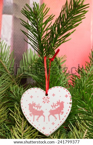 tree toy heart christmas new year soft selective focus toned photo - stock photo