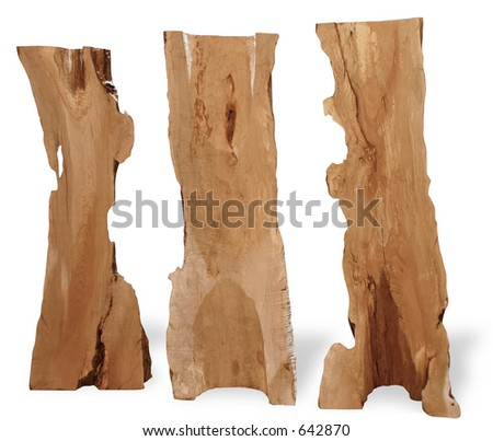 tree trunks carved as art - stock photo
