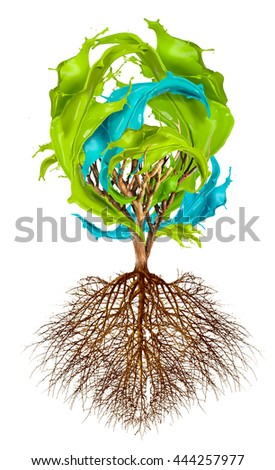 Tree with color splash leaves, creativity concept 3D illustration - stock photo