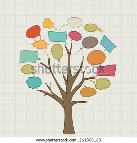 Tree with retro speech bubbles - stock photo