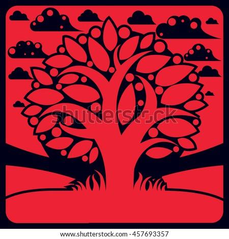 Tree with ripe apples placed on stylized background, harvest season theme illustration. Fruitfulness and fertility idea symbolic image.  - stock photo