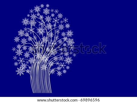 tree with snowflakes for your design. Tree symbol.  The similar image in my portfolio in vector format. - stock photo