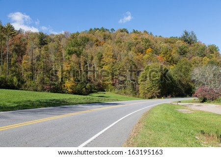 Trees along the Cherohala Skyway in North Carolina are showing the Fall colors.6 - stock photo